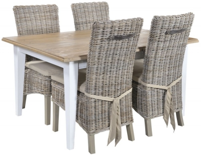 Rowico Lulworth White Dining Table and 4 Maya Grey Wash Cushion Chairs