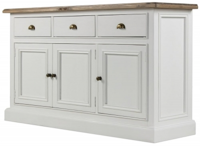Rowico Lulworth White 3 Door 3 Drawer Sideboard
