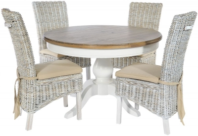 Rowico Lulworth White Round Dining Table and 4 Maya White Wash Cushion Chairs