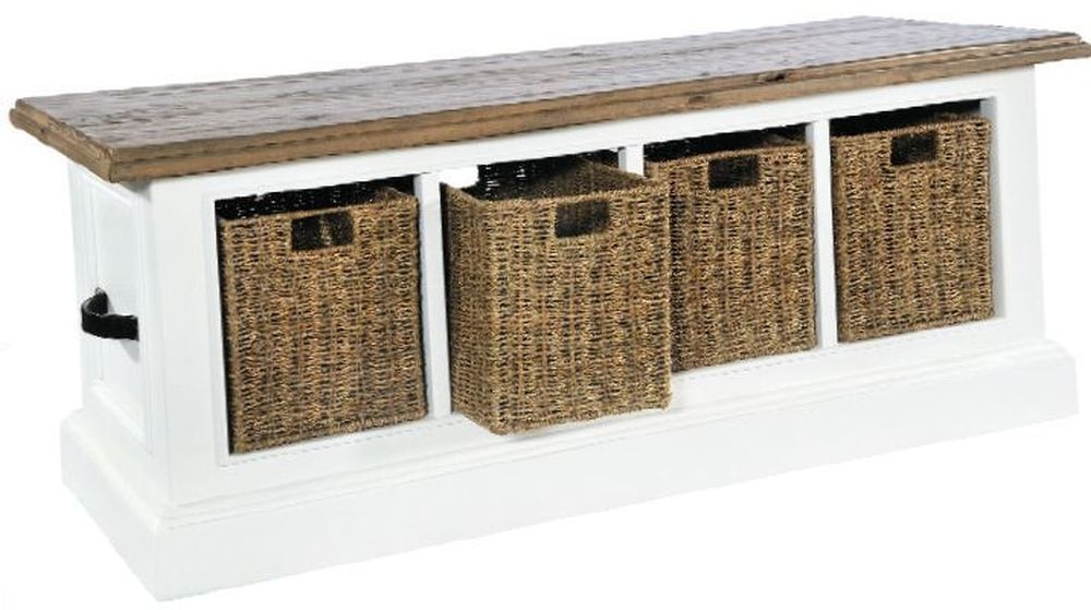 Rowico Lulworth White 4 Basket Low Storage Unit