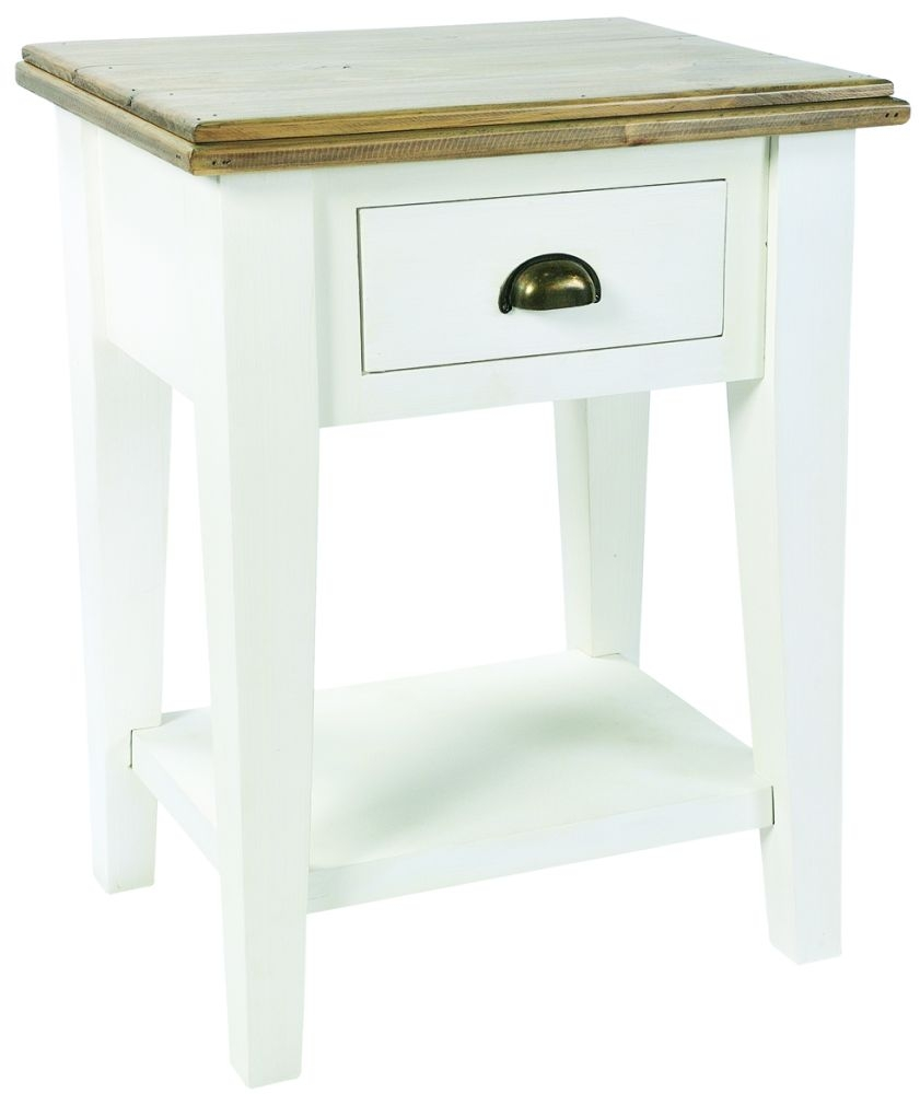 Rowico Lulworth White 1 Drawer Bedside Table