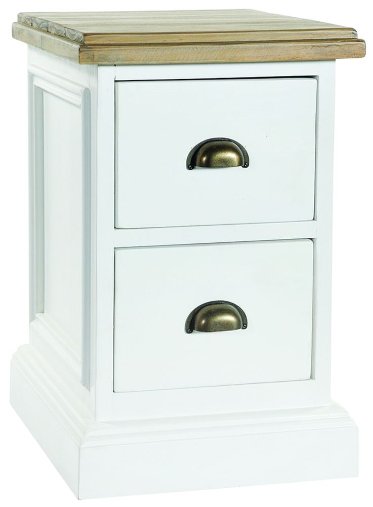 Rowico Lulworth White 2 Drawer Bedside Cabinet