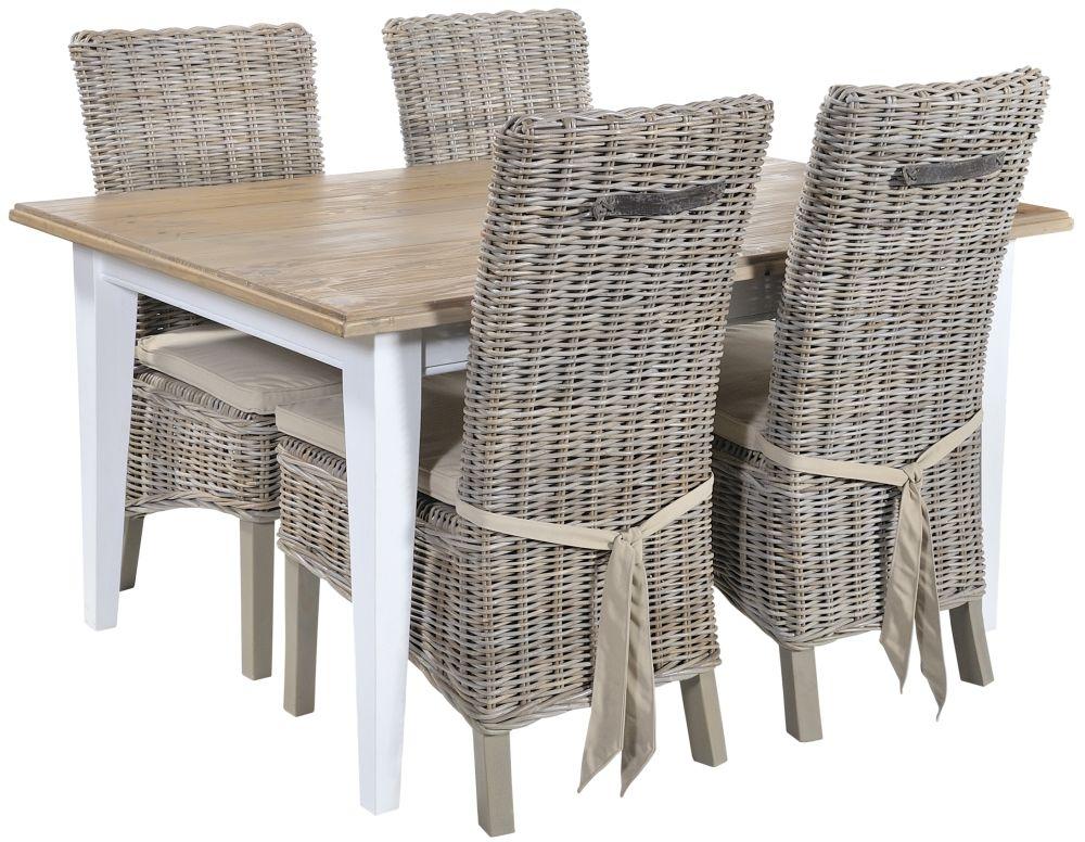 Rowico Lulworth Dining Table and 4 Maya Grey Wash Cushion Chairs - White