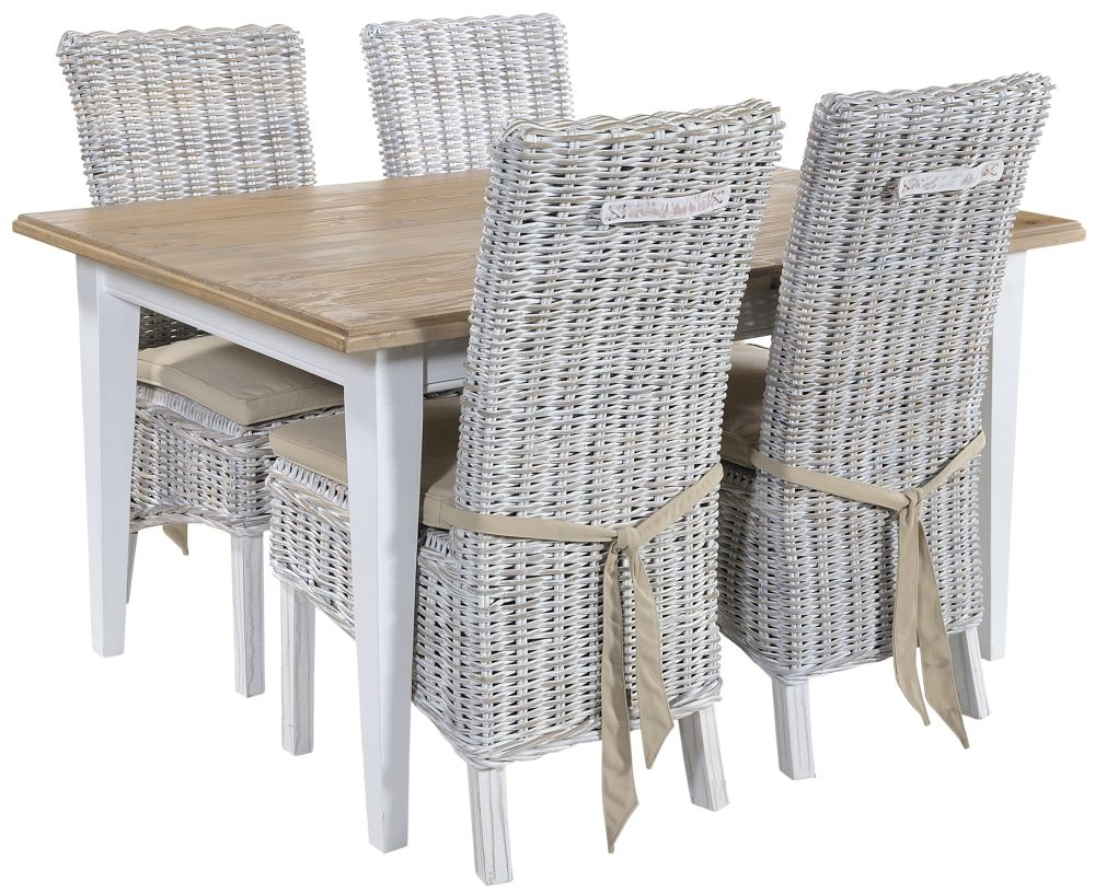 Rowico Lulworth Dining Table and 4 Maya White Wash Cushion Chairs - White