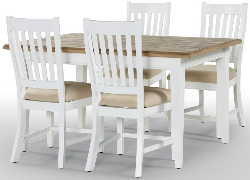 Rowico Lulworth Dining Table and 4 Slatted Chairs - White