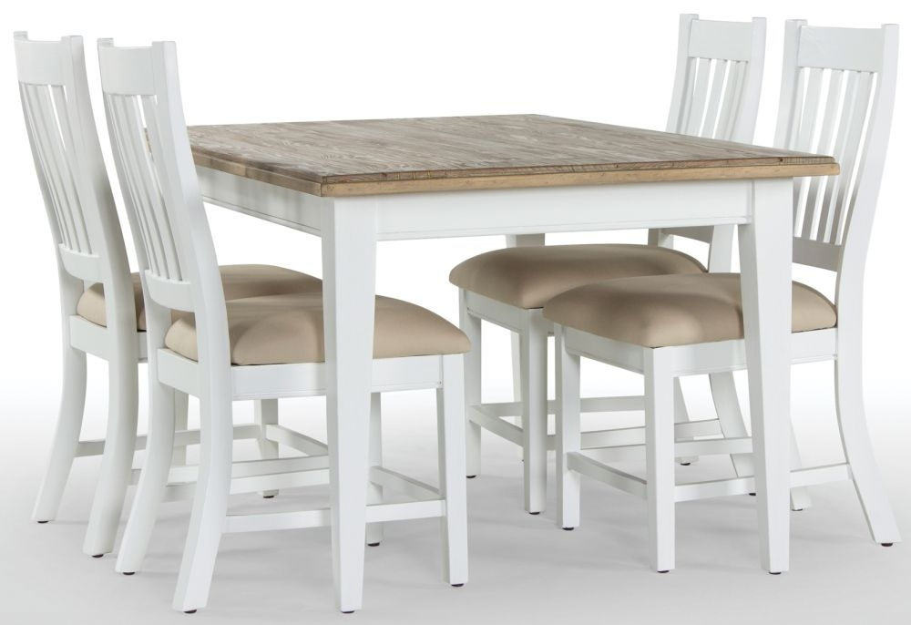 Rowico Lulworth Extending Dining Table and 4 Slatted Chairs - White