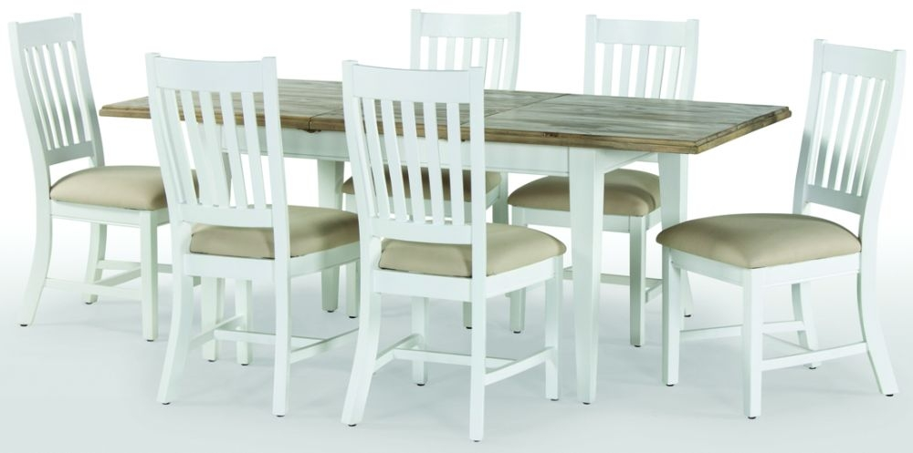 Rowico Lulworth Extending Dining Table and 6 Slatted Chairs - White
