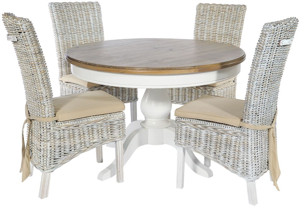 Rowico Lulworth Round Dining Table and 4 Maya White Wash Cushion Chairs - White
