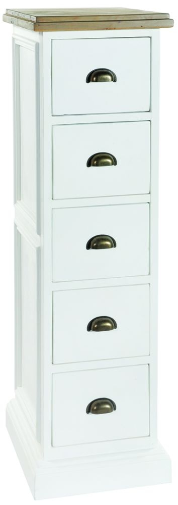 Rowico Lulworth 5 Drawer Tall Chest - White