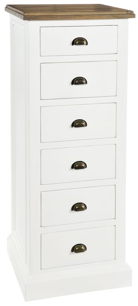 Rowico Lulworth 6 Drawer Tall Chest - White