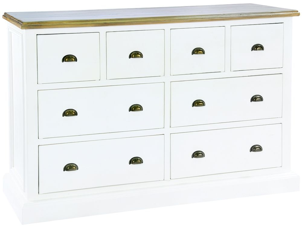 Rowico Lulworth 4 Over 4 Drawer Wide Chest - White