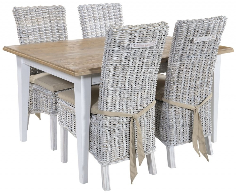 Rowico Lulworth White Dining Table and 4 Maya White Wash Cushion Chairs