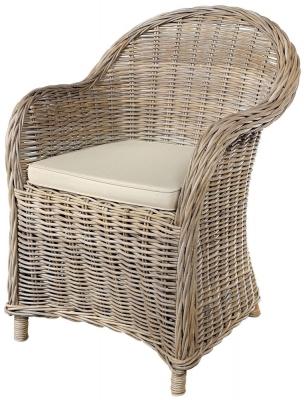 Rowico Maya Rattan Grey Wash Armchair with Stone Loose Cushion