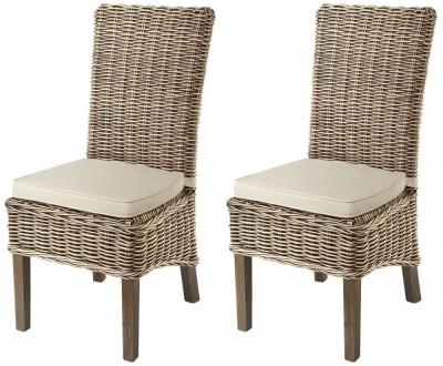 Rowico Maya Rattan Grey Wash Dining Chair with Stone Loose Cushion (Pair)
