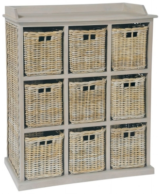 Rowico Maya Rattan Grey Wash 9 Basket Storage Unit