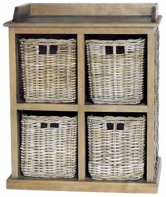 Rowico Maya Rattan Grey Wash 4 Basket Storage Unit