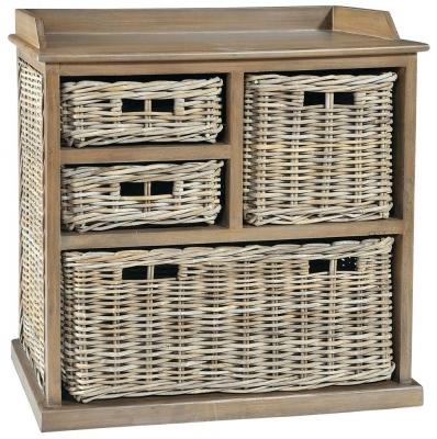 Rowico Maya Rattan Grey Wash 3 Over 1 Basket Storage Unit