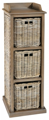 Rowico Maya Rattan Grey Wash 3 Basket Storage Unit