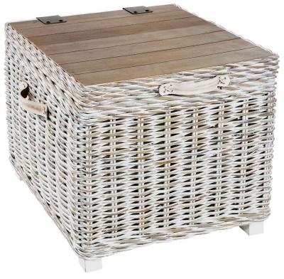 Rowico Maya Rattan White Wash Storage Side Table