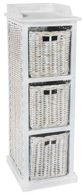 Rowico Maya Rattan White Wash 3 Basket Storage Unit