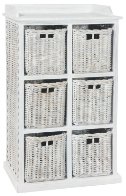 Rowico Maya Rattan White Wash 6 Basket Storage Unit