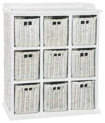 Rowico Maya Rattan White Wash 9 Basket Storage Unit