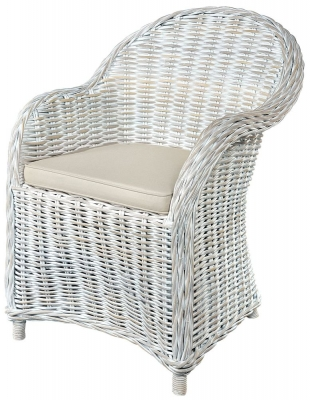 Rowico Maya Rattan White Wash Armchair with Stone Loose Cushion