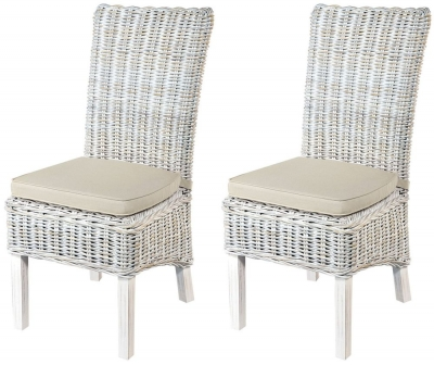 Rowico Maya Rattan White Wash Dining Chair with Stone Loose Cushion (Pair)