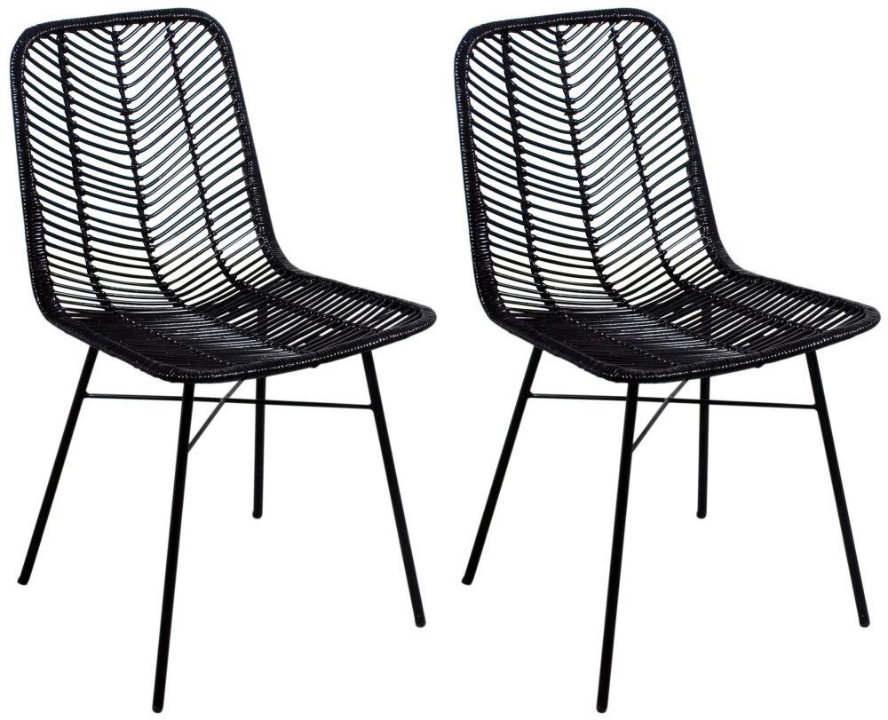 Admirable Rowico Maya Rattan Dining Chair Pair Black Ncnpc Chair Design For Home Ncnpcorg