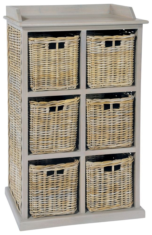 Rowico Maya Rattan 6 Basket Storage Unit - Grey Wash