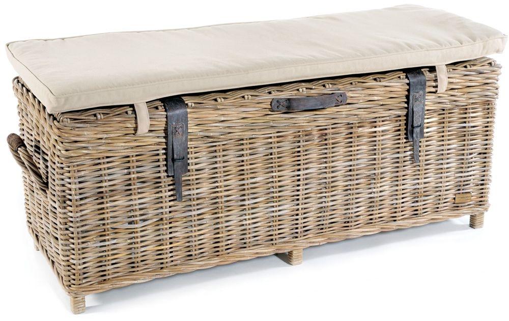 Rowico Maya Rattan Storage Bench with Cushion - Grey Wash
