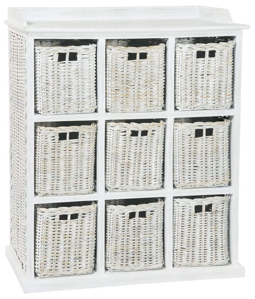 Rowico Maya Rattan White Wash 9 Basket Storage Unit