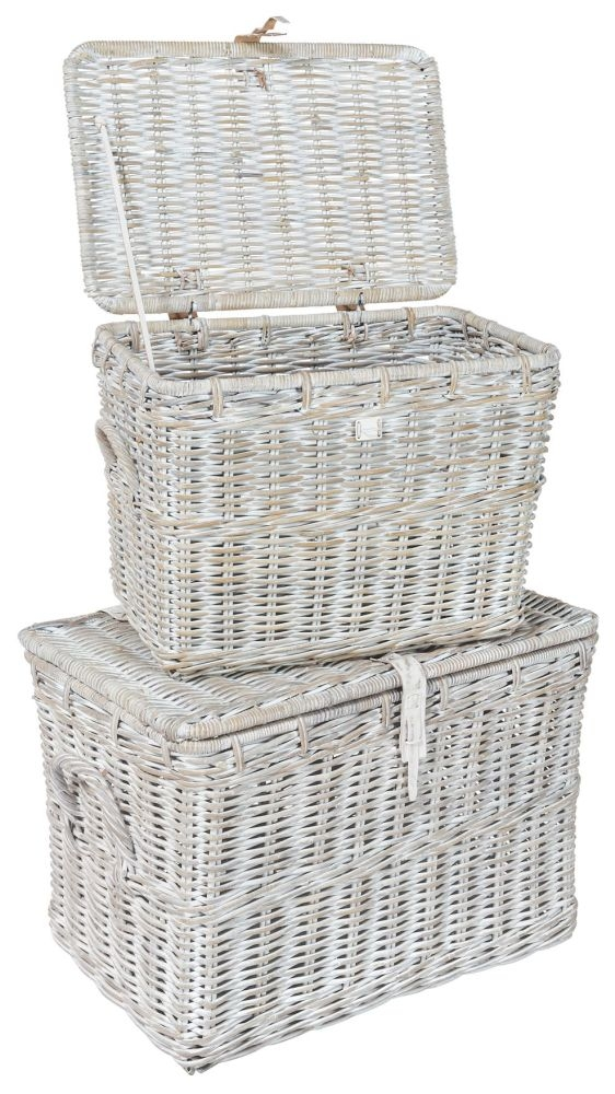 Rowico Maya Rattan Double Log Basket - White Wash