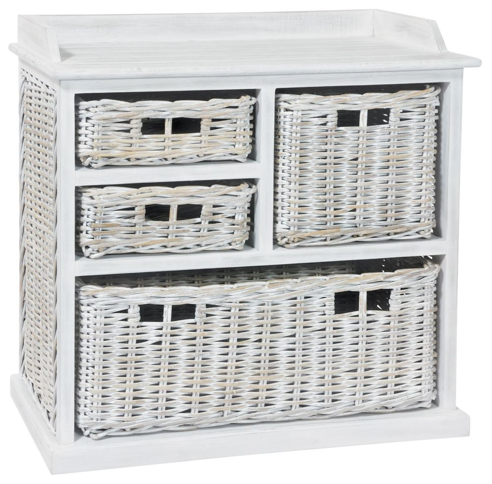 Rowico Maya Rattan 3 Over 1 Basket Storage Unit - White Wash