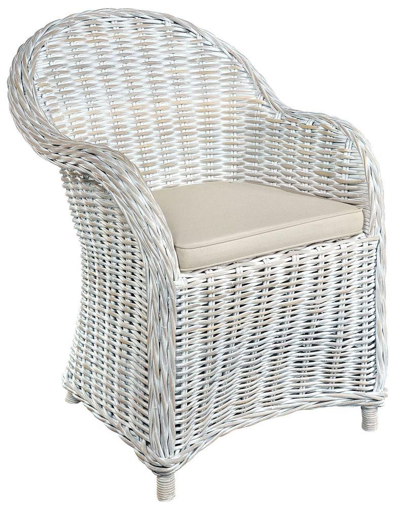 Rowico Maya Rattan Armchair - White Wash
