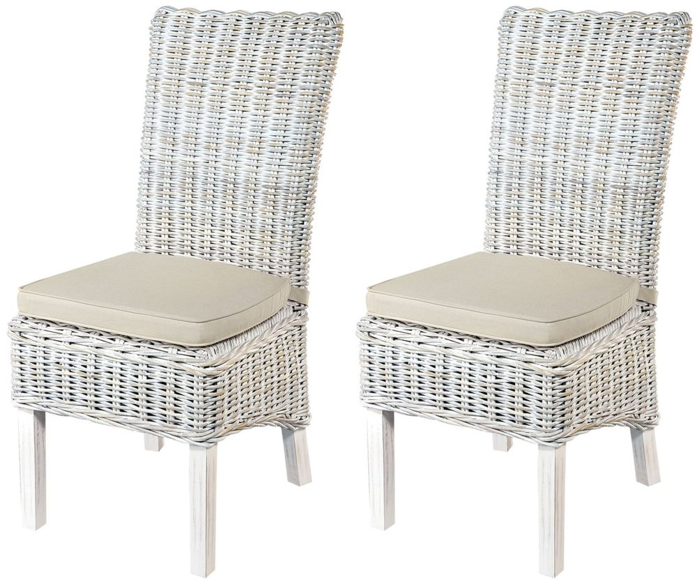 Miraculous Rowico Maya Rattan Dining Chair With Stone Loose Cushion Pair White Wash Ncnpc Chair Design For Home Ncnpcorg