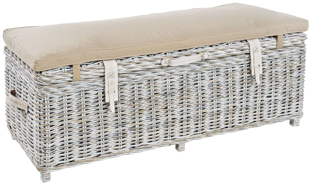 Rowico Maya Rattan White Wash Storage Bench with Grey Cushion