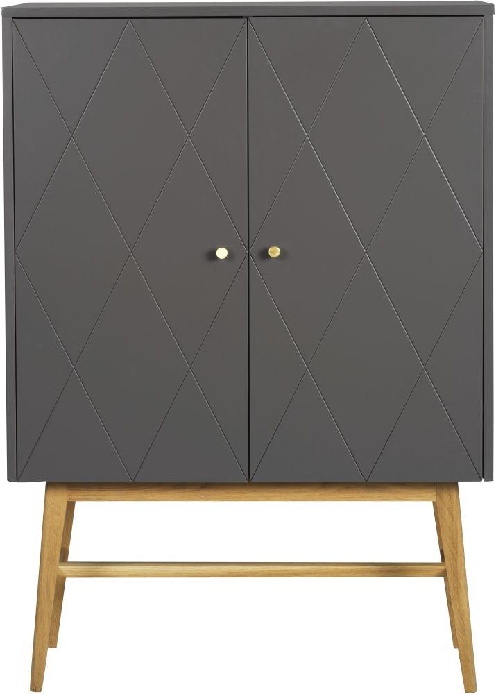 Rowico Monterey Grey and Oak Tall Cupboard