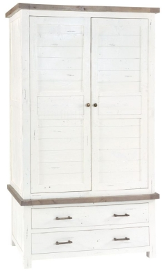 Rowico Purbeck Distressed White 2 Door 2 Drawer Wardrobe
