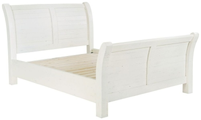 Rowico Purbeck Distressed White 5ft King Size Bed