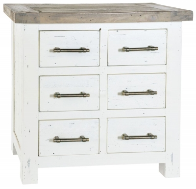 Rowico Purbeck Distressed White 6 Drawer Chest