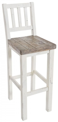 Rowico Purbeck Distressed White Bar Stool