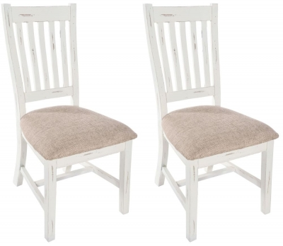 Rowico Purbeck Distressed White Slatted Dining Chair (Pair)