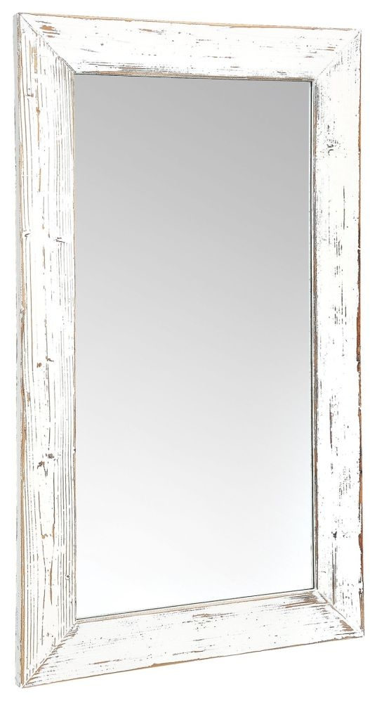 Rowico Purbeck Distressed White Wall Mirror - 70cm x 140cm