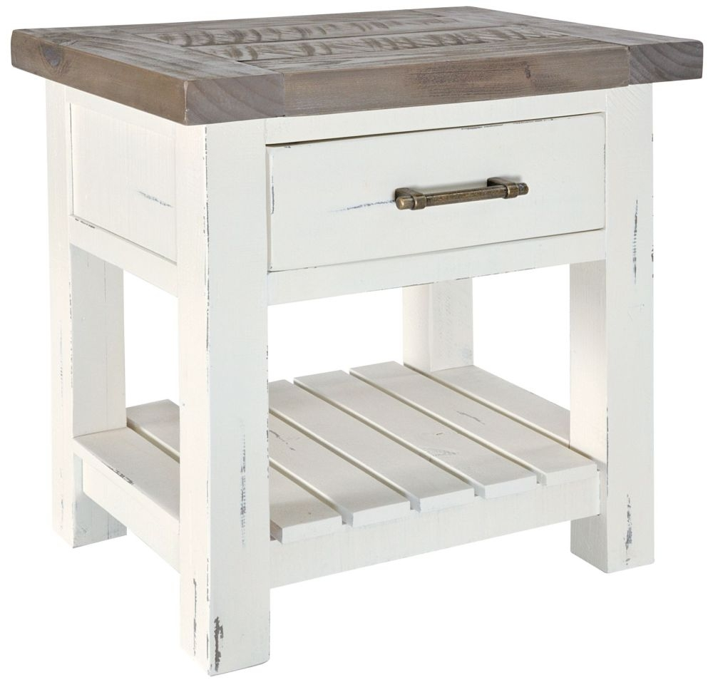 Rowico Purbeck Distressed White 1 Drawer Bedside Table