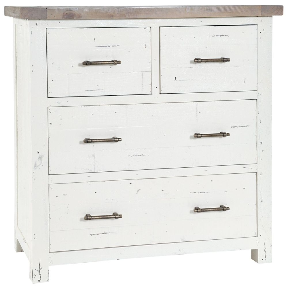 Rowico Purbeck Distressed White 2+2 Drawer Chest