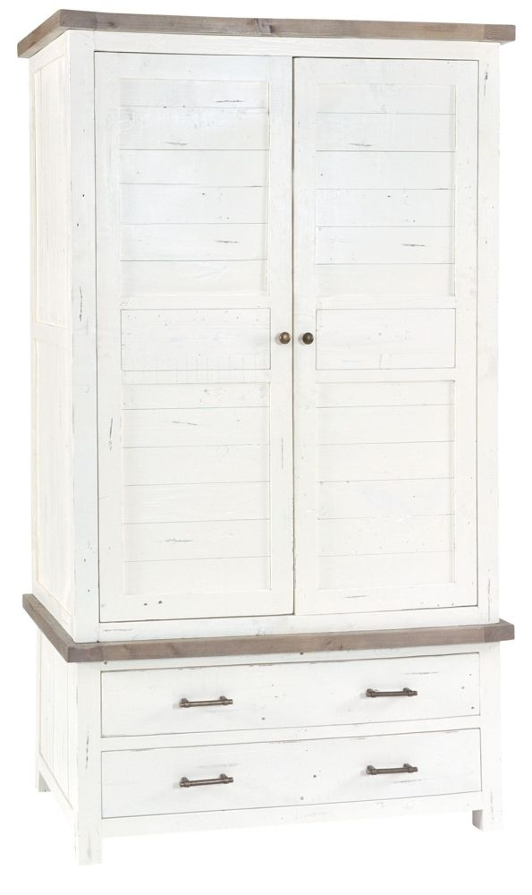 Rowico Purbeck 2 Door Wardrobe - Distressed White