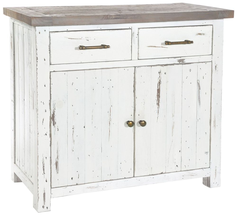 Rowico Purbeck Distressed White 2 Door 2 Drawer Sideboard