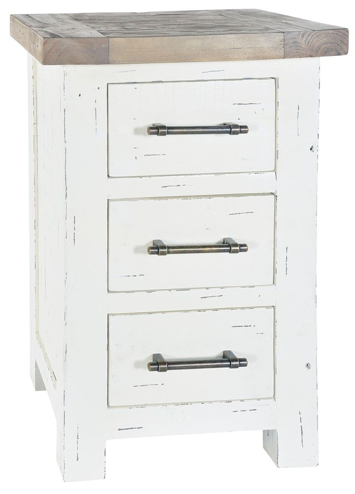 Rowico Purbeck Distressed White 3 Drawer Chest