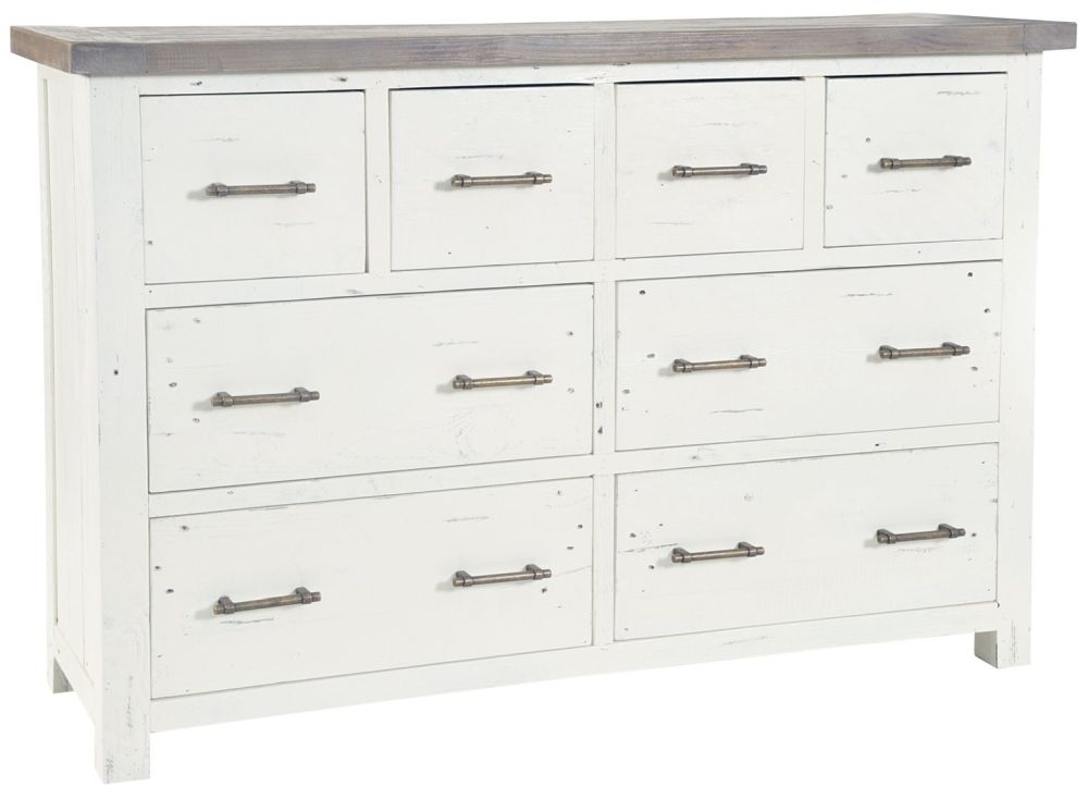 Rowico Purbeck 4 Over 4 Drawer Wide Chest - Distressed White
